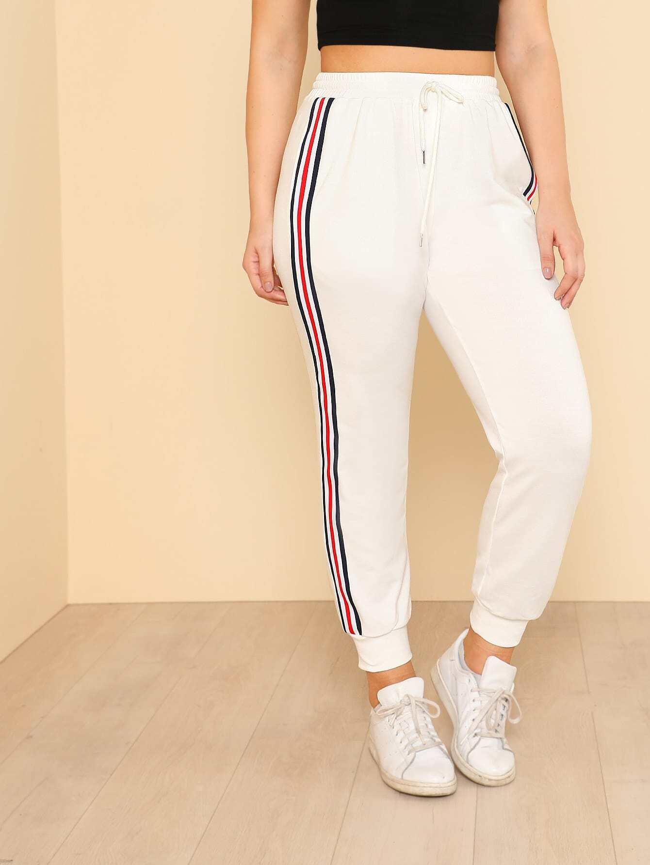 Striped Tape Side Sweatpants striped tape side cuffed pants