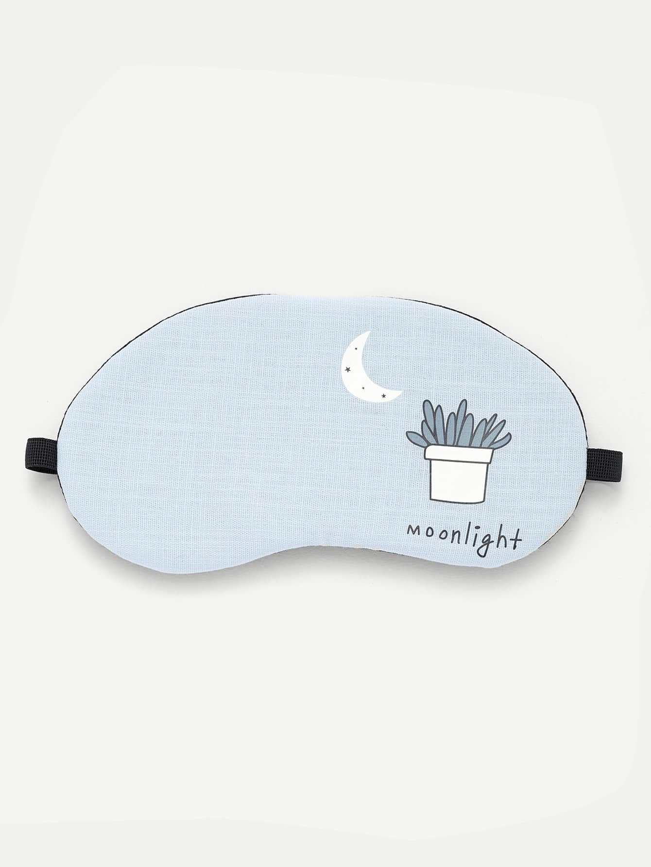 Cactus Potted & Letter Print Eye Mask