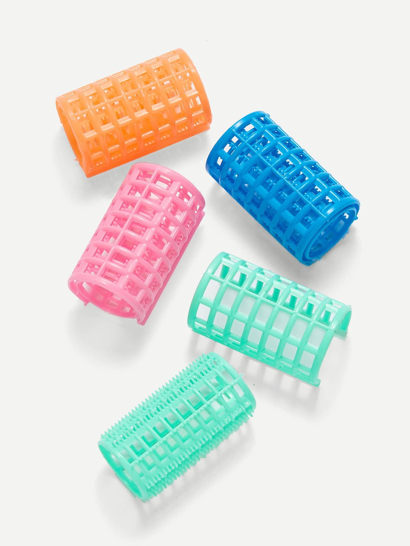 Купить Смешанный цветной пластиковый ролик для волос 4шт., null, SheIn