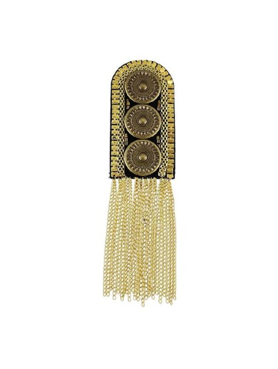 Gold 1Pc Carved Button Shoulder Board
