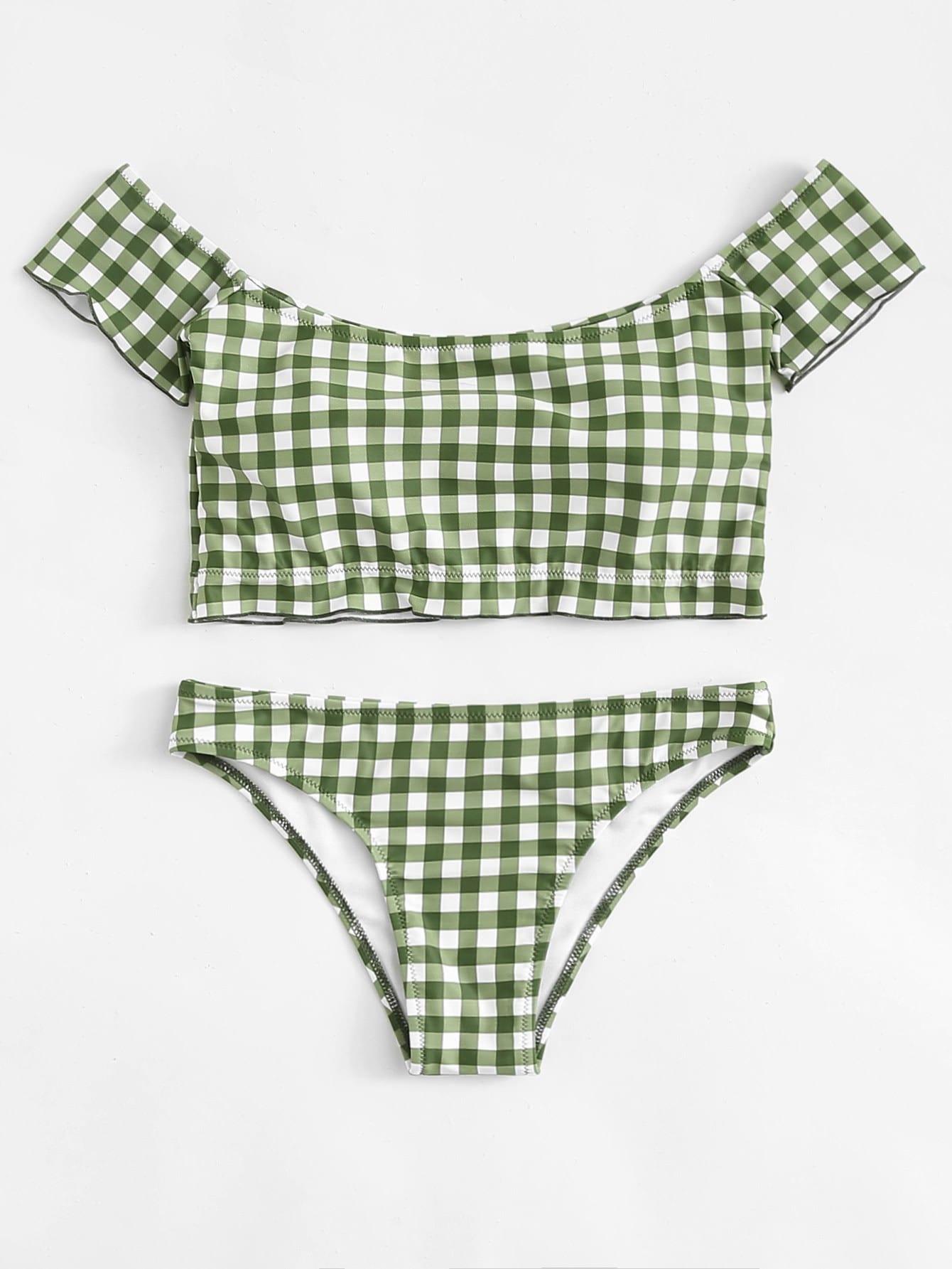 Off The Shoulder Gingham Bikini Set цена и фото
