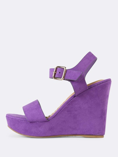 Faux Suede Single Band Buckle Ankle Strap Platform Wedge Sandal PURPLE
