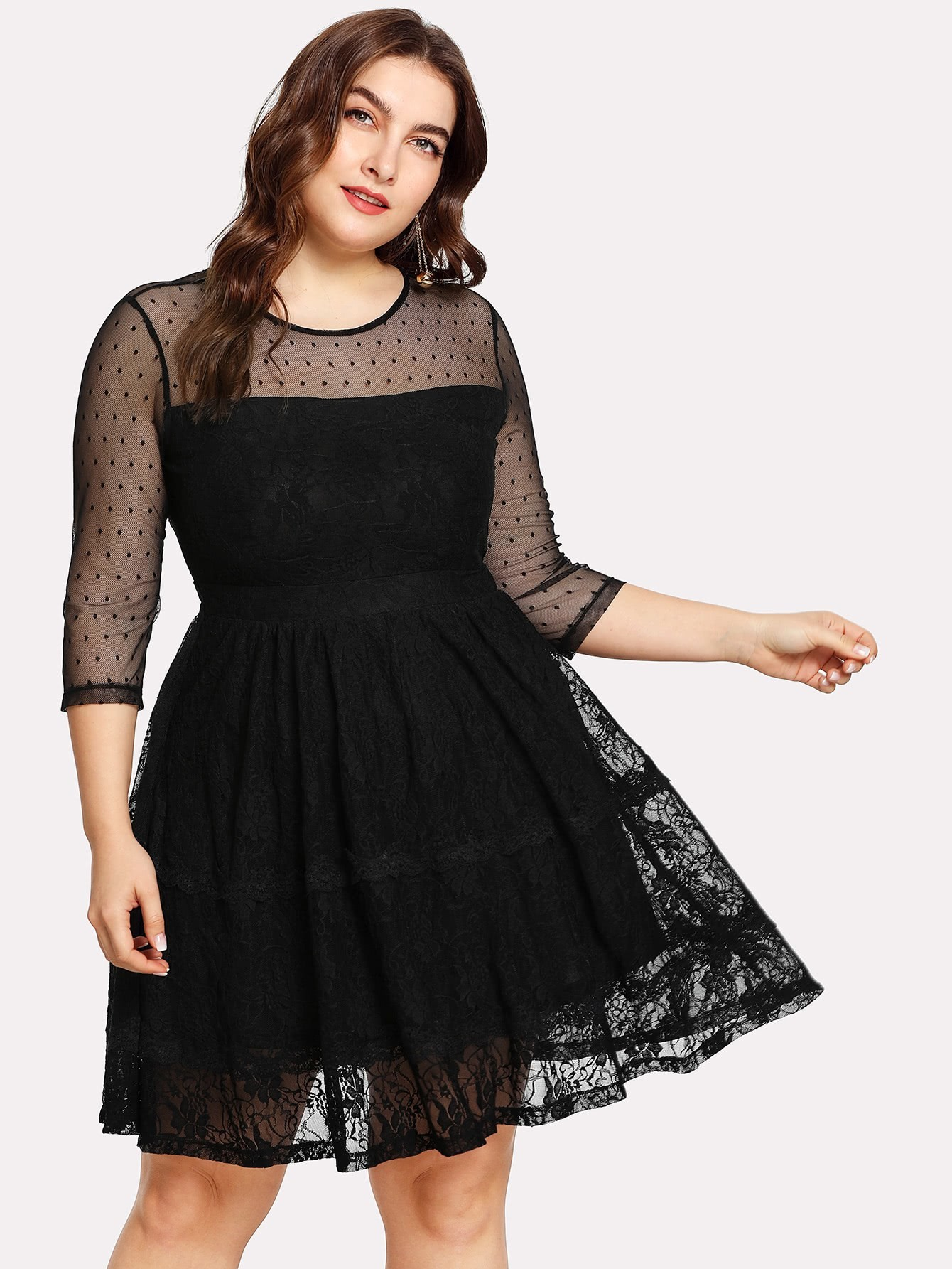 Dot Mesh Shoulder Lace Overlay Fit & Flare Dress dot mesh overlay frill detail fluted cuff top