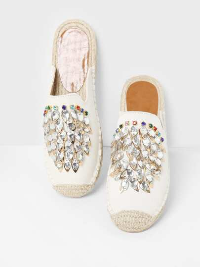 Rhinestone Decorated Cap Toe Flats