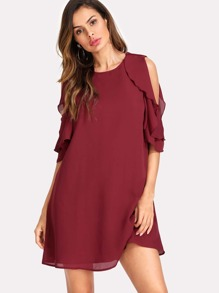 Cold Shoulder Layered Ruffle Trim Tunic Dress