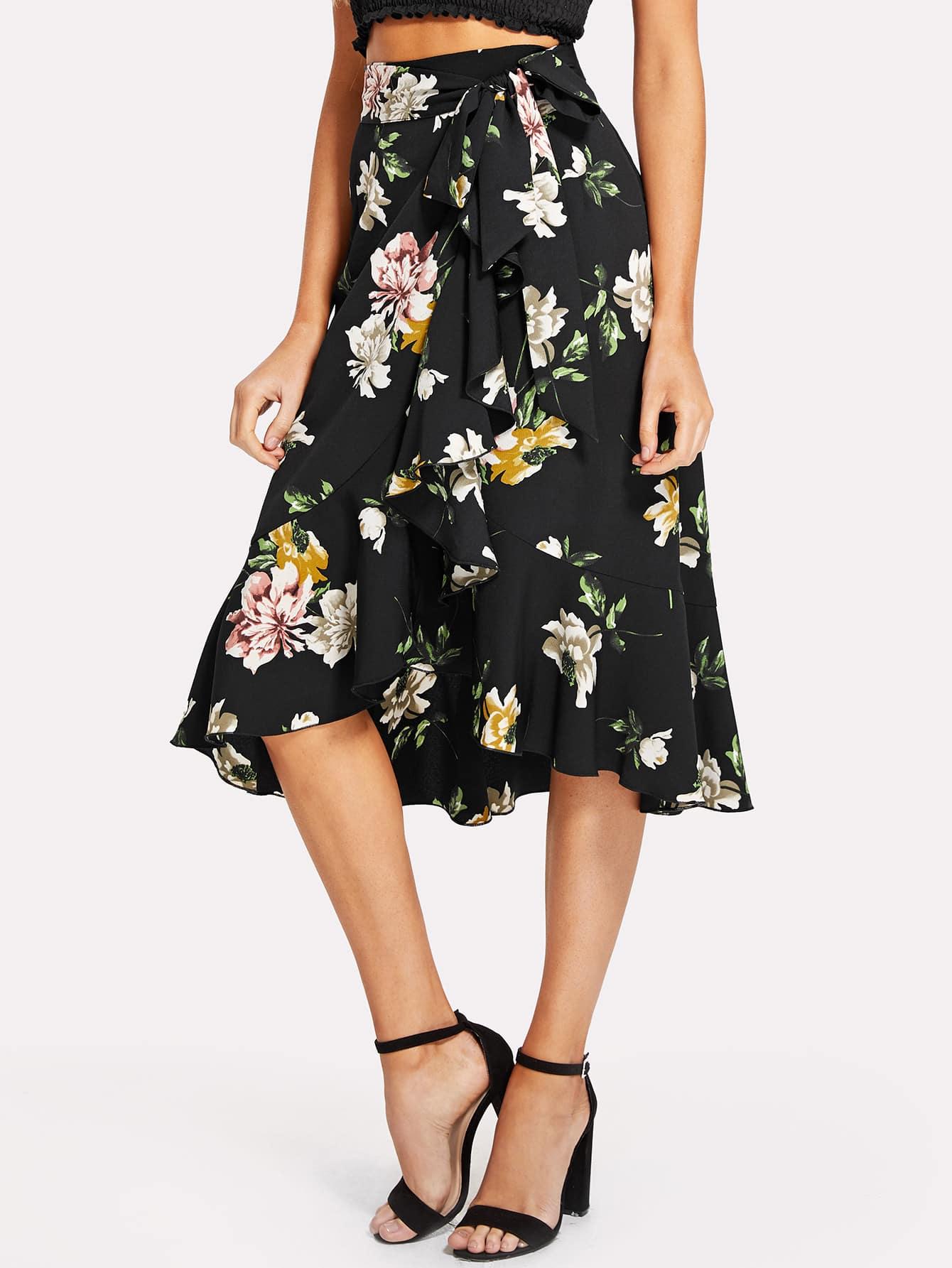 Купить Tie Waist Ruffle Trim Асимметричная цветочная юбка Hem, Sasa, SheIn
