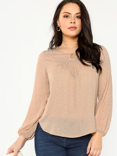 Button Keyhole Neck Gold Polka Dot Top