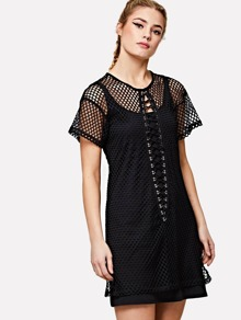 Lace Up Front Eyelet Mesh Dress