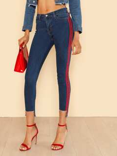 Red Stripe Detail Low Rise Jeans with Frayed Hem BLUE