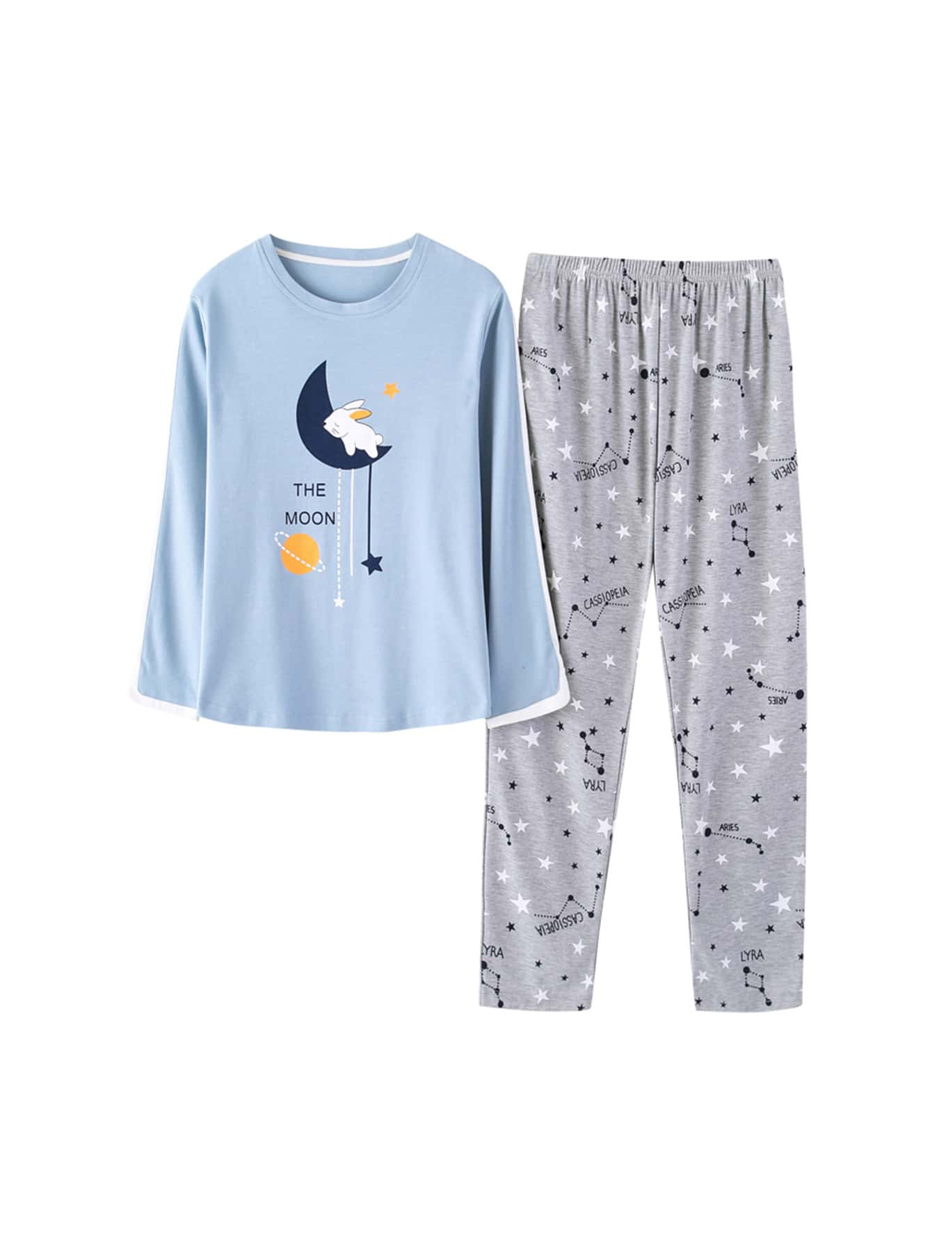 Rabbit & Moon Print Tee & Pants PJ Set rabbit print pullover