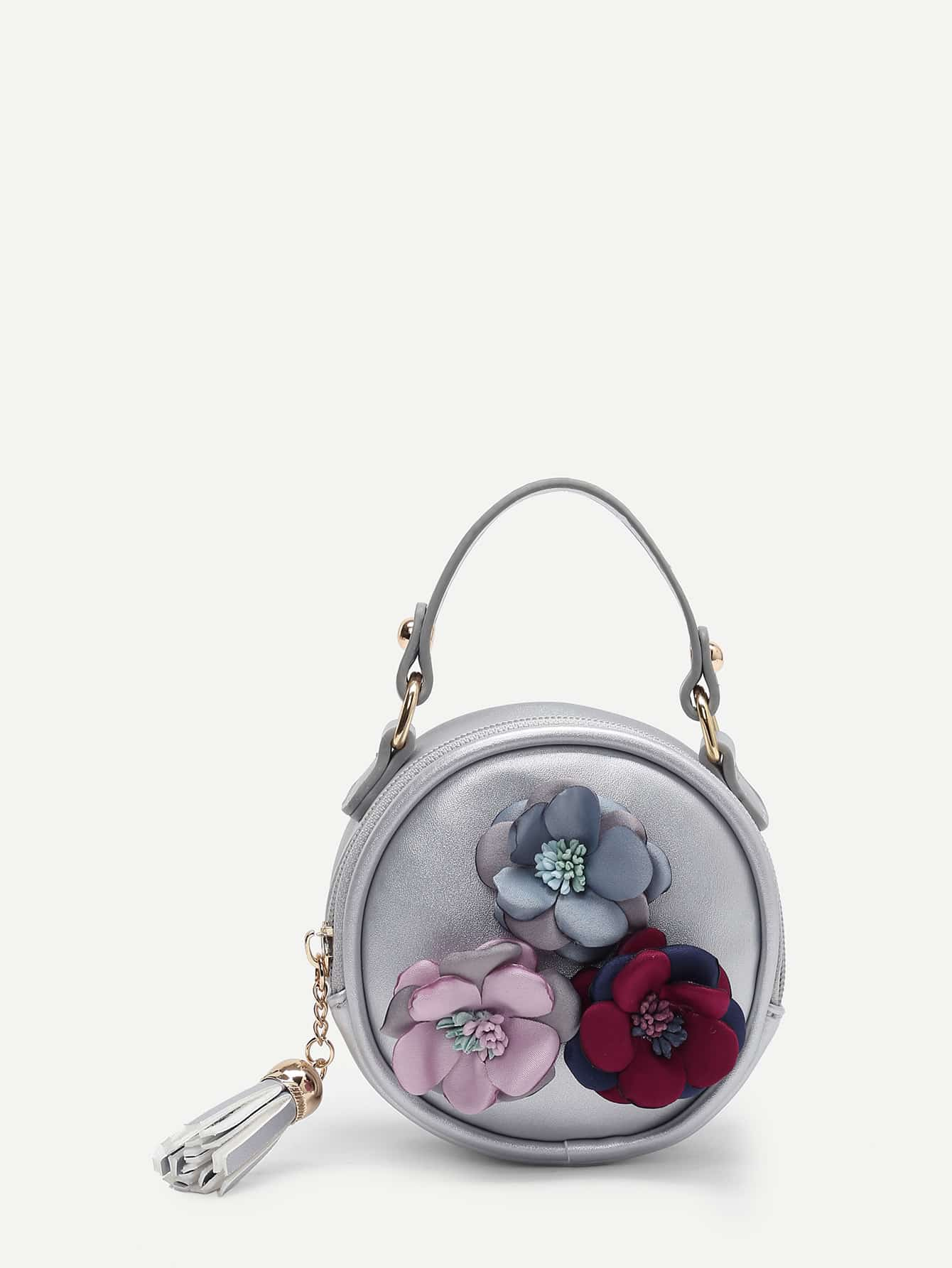 Flower Decorated PU Round Bag With Tassel