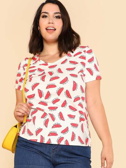 Allover Watermelon Print Curved Hem Tee