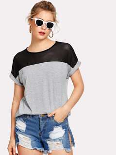Contrast Mesh Yoke Heather Knit Tee