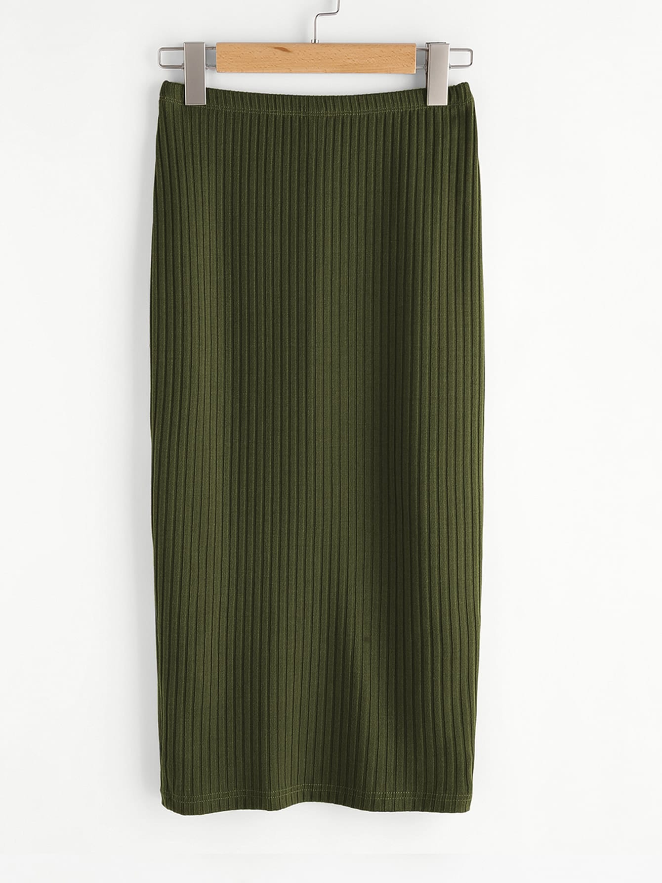 Elastic Waist Ribbed Pencil Skirt