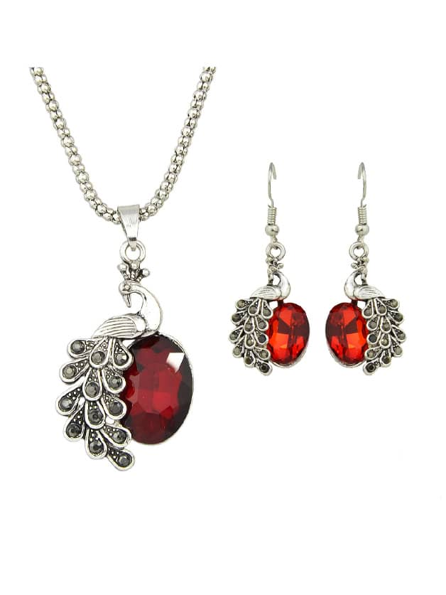 Red Jewelry Set Peacock Necklace And Earrings