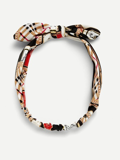 Patchwork Print Bow Knot Headband