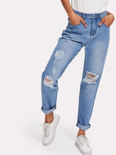 Bleached Wash Ripped Tapered Jeans