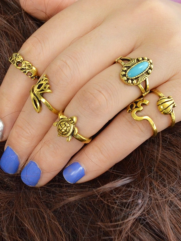 Gold 6Pcs/Set Stone Elephant Turtle Jewelry Rings
