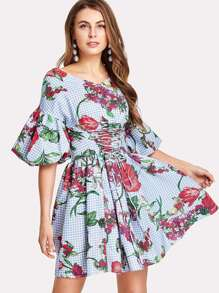 Lantern Sleeve Plaid And Flower Print Dress