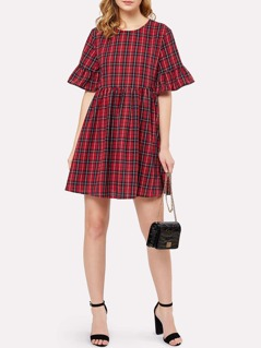Trumpet Sleeve Checked Smock Dress