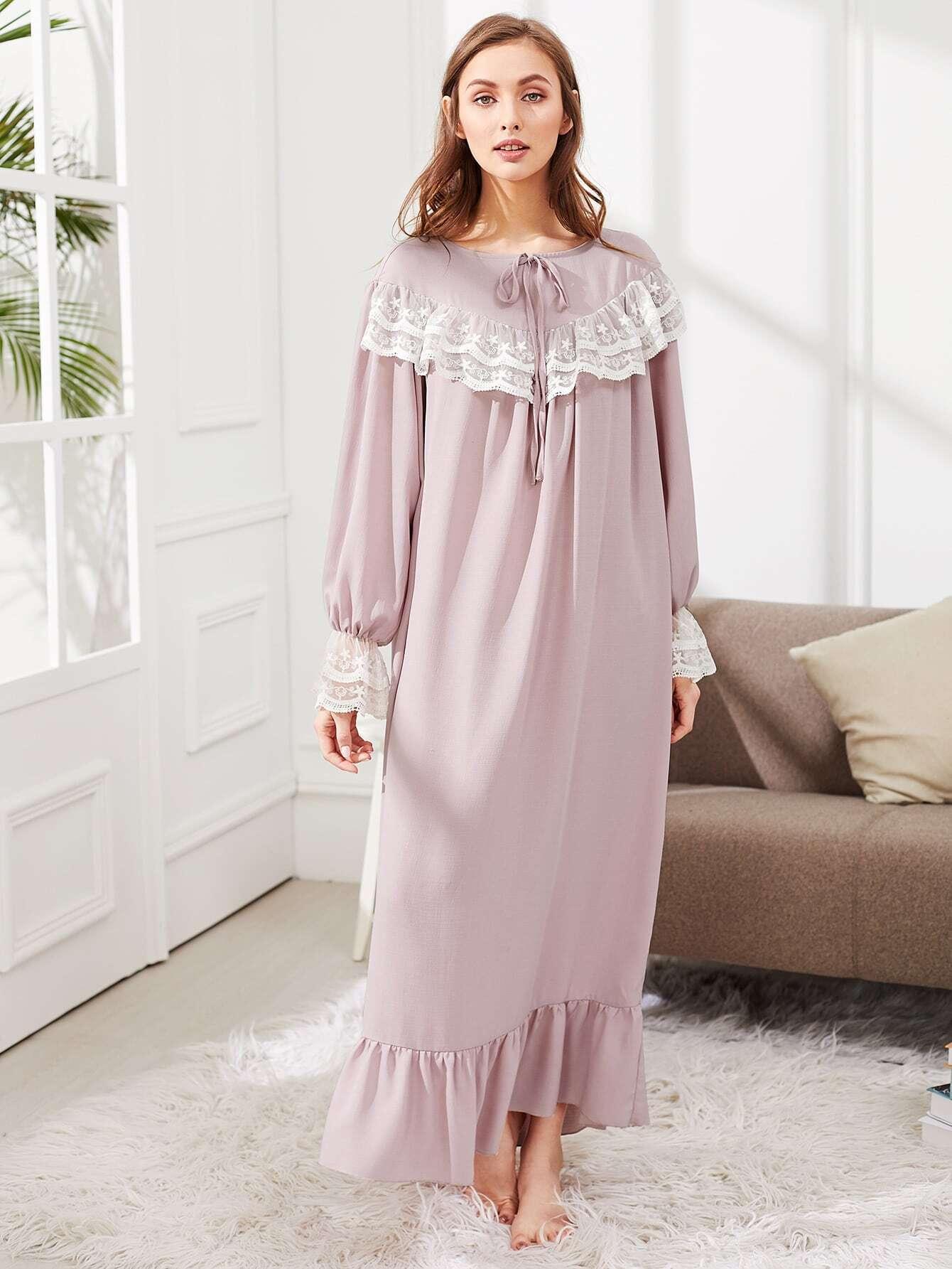 Lace Embellished Ruffle Hem Night Dress