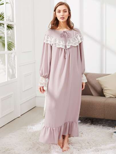 Lace Embellished Ruffle Hem Night Dress