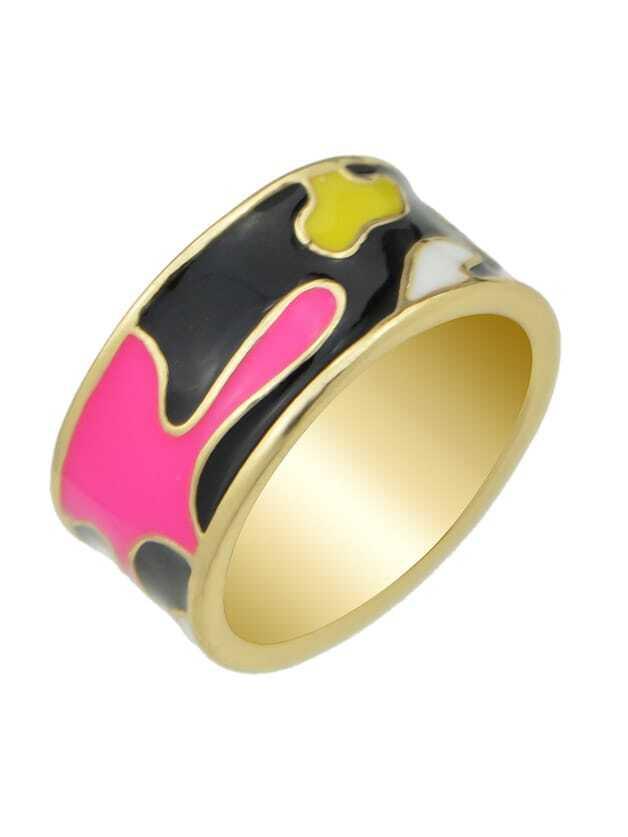 Black-8 Enamel Geometric Pattern  Finger Rings 3pcs set hyperbole geometric circle v shape finger rings