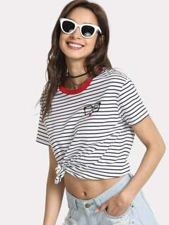 Contrast Tape Striped Tee