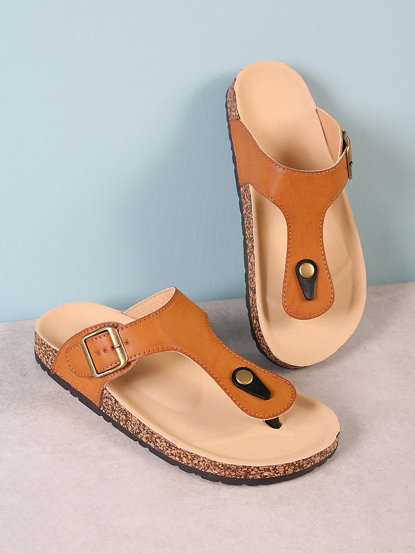 Cork Footbed Slide Sandal with Buckled T-Strap Thong TAN шлепанцы женские soludos knotted slide sandal ivory