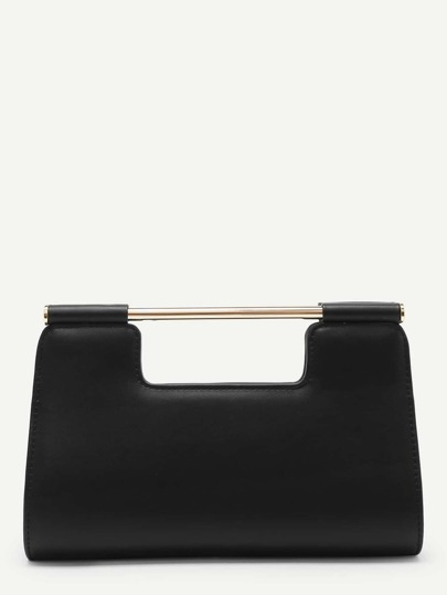 PU Clutch Bag With Metal Handle