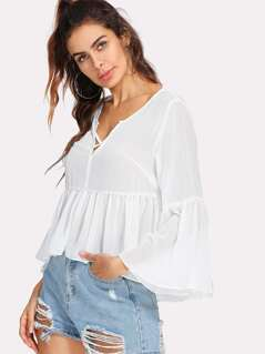 Crisscross V Neck Ruffle Sleeve Blouse