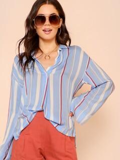 Stripe Collared Dip Hem Long Sleeve Top LIGHT BLUE