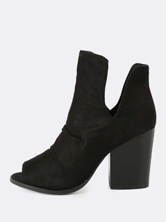 Faux Suede Peep Toe Ruched V Cut Chunky Heel Booty BLACK