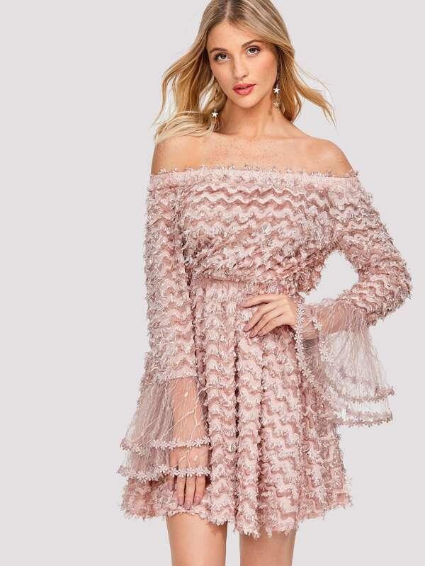 Layered Fringe Embellished Flounce Sleeve Bardot Dress by Shein
