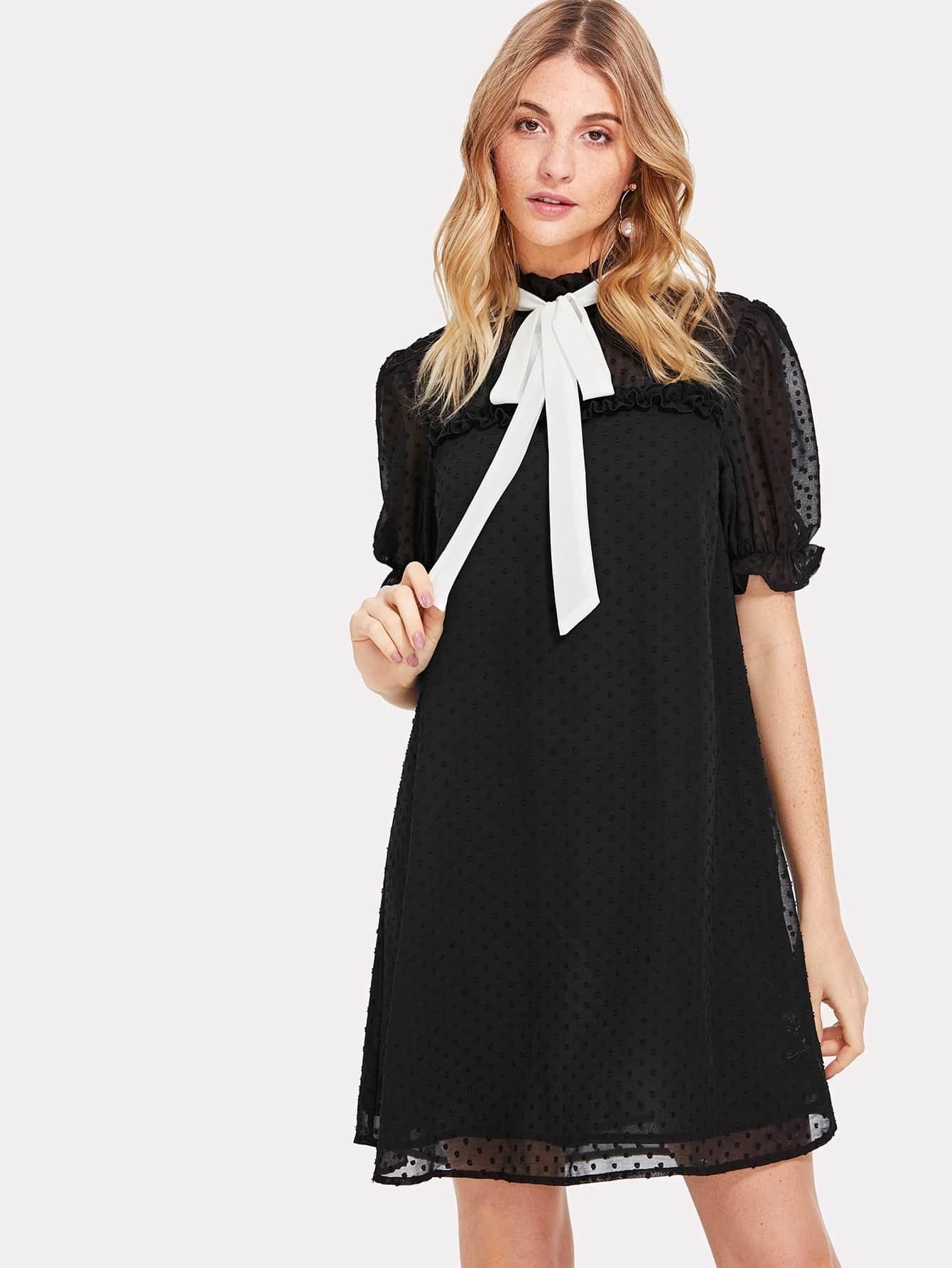 Contrast Tie Neck Frill Trim Jacquard Dress contrast tie neck faux pocket tweed dress