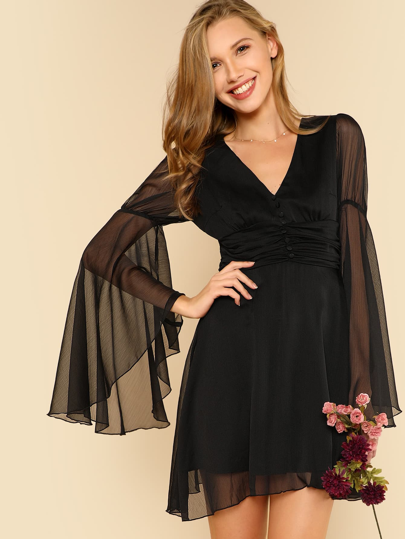 Ruched And Button Front Flounce Sleeve Dress ruched and button front flounce sleeve dress
