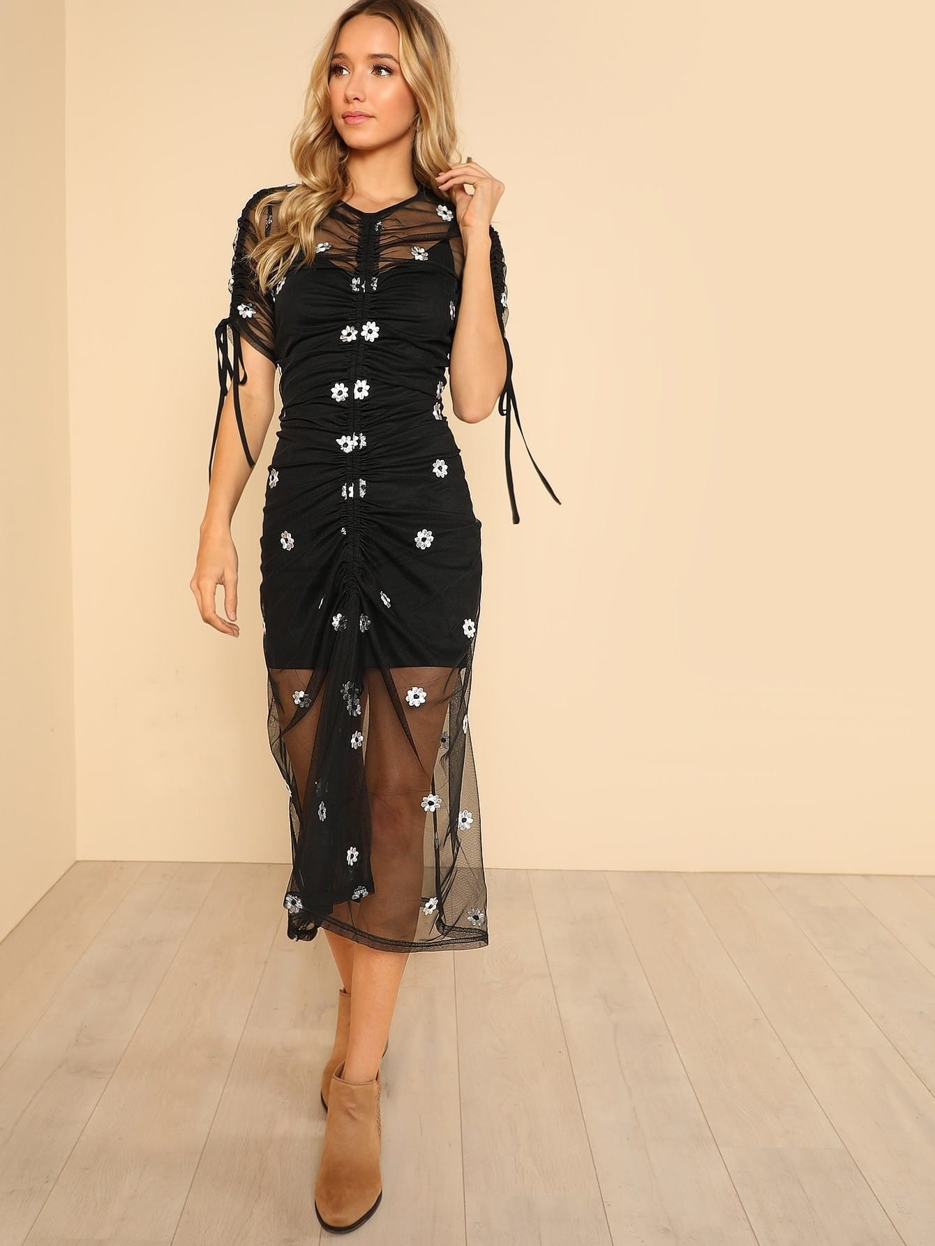 Ruched Flower Embroidered Mesh 2 in 1 Dress david herbert lawrence women in love