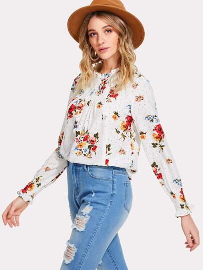 Frilled & Pleated Neck Smocked Cuff Floral Top