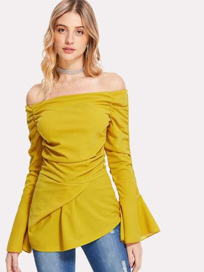 Trumpet Sleeve Ruched Bardot Top
