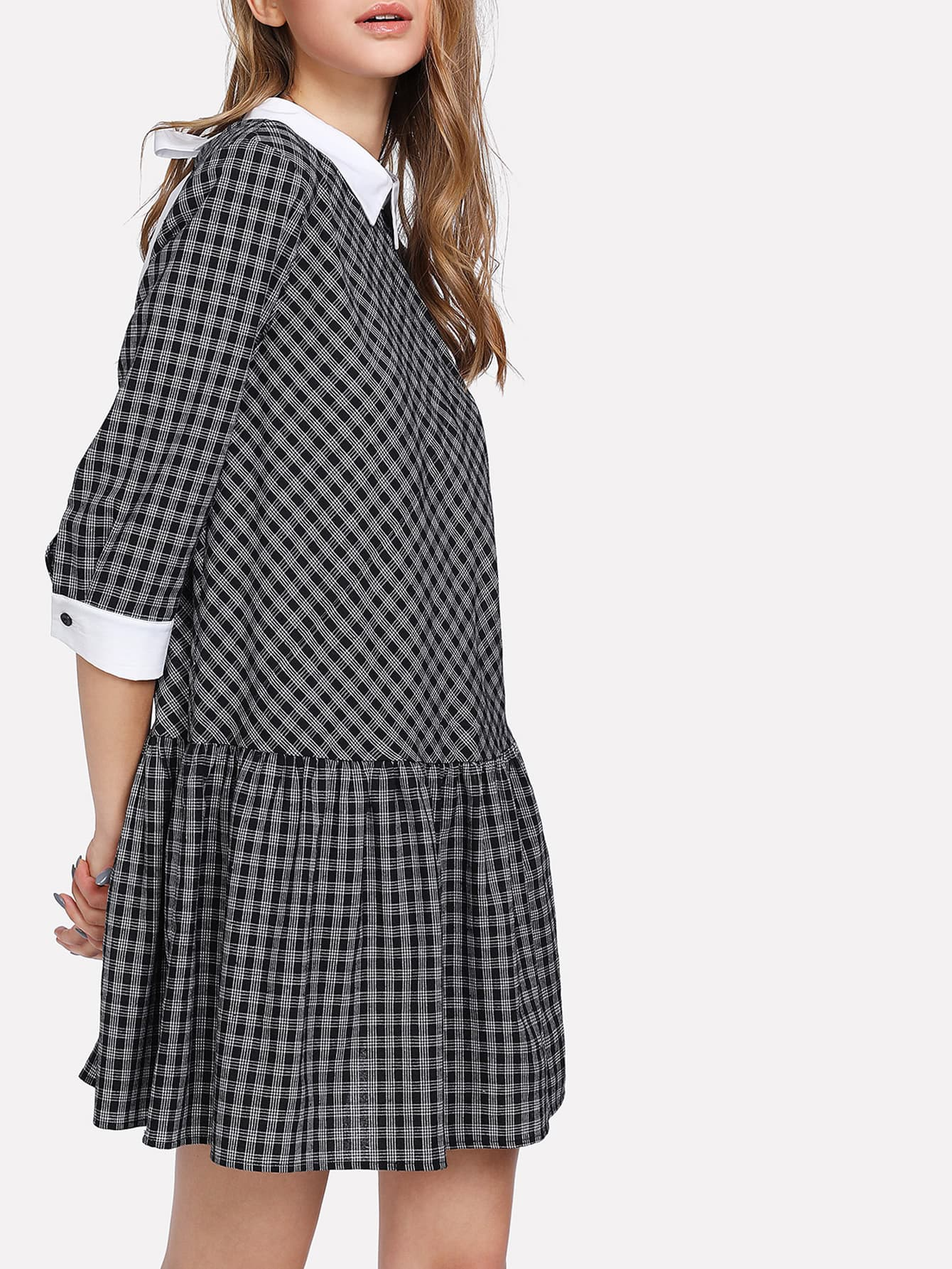 Contrast Cuff And Collar Bow Tied Dress contrast collar bow tied detail striped dress
