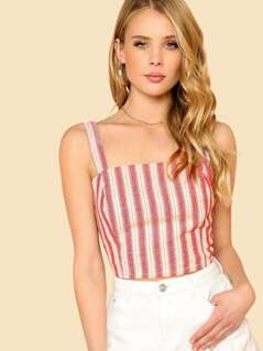 Zipped Back Striped Crop Top RED