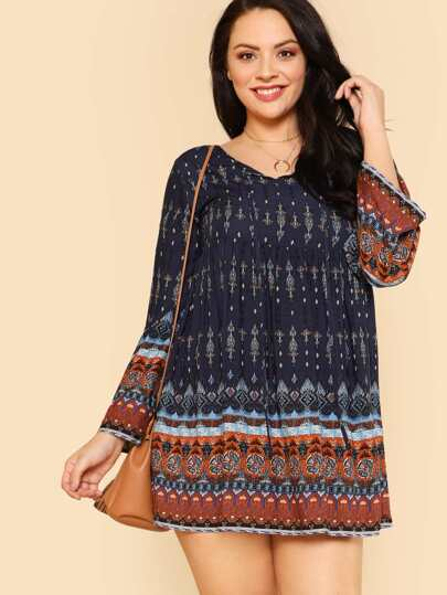 Tie Neck Ornate Print Dress