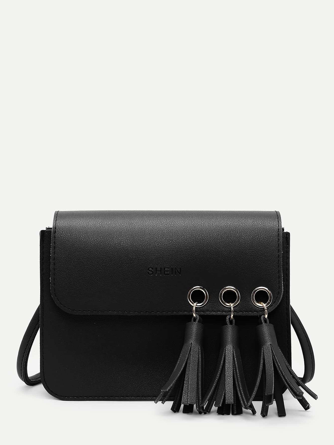 Tassel Decorated Flap PU Crossbody Bag tassel decorated velvet chain flap bag