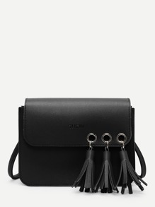 Tassel Decorated Flap PU Crossbody Bag