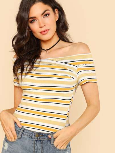 Stripe Off Shoulder Short Sleeve Top YELLOW