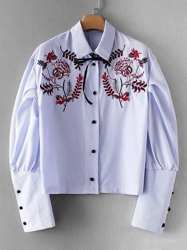 Embroidered Flower Striped Blouse