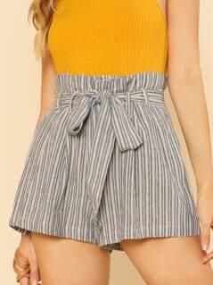 Striped Frill Waist Self Tie Shorts