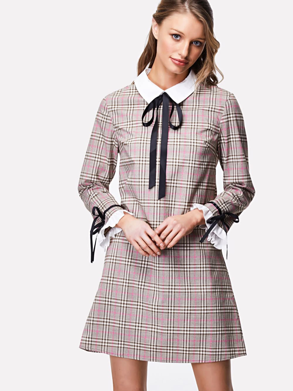 Contrast Collar And Ruffle Cuff Plaid Dress zip back stand collar plaid dress