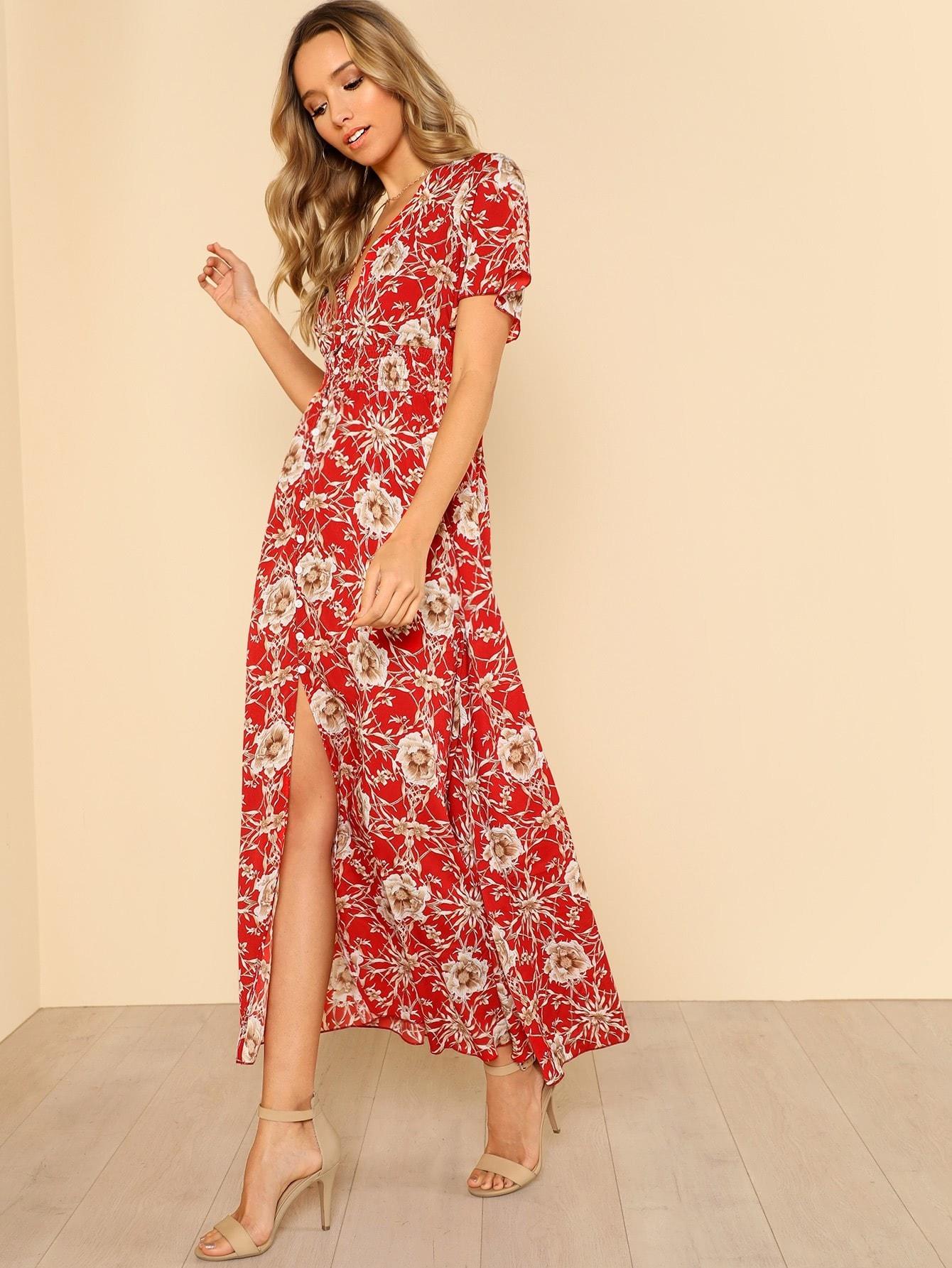Button Up Shirred Waist Floral Maxi Dress shirred waist zip back fit