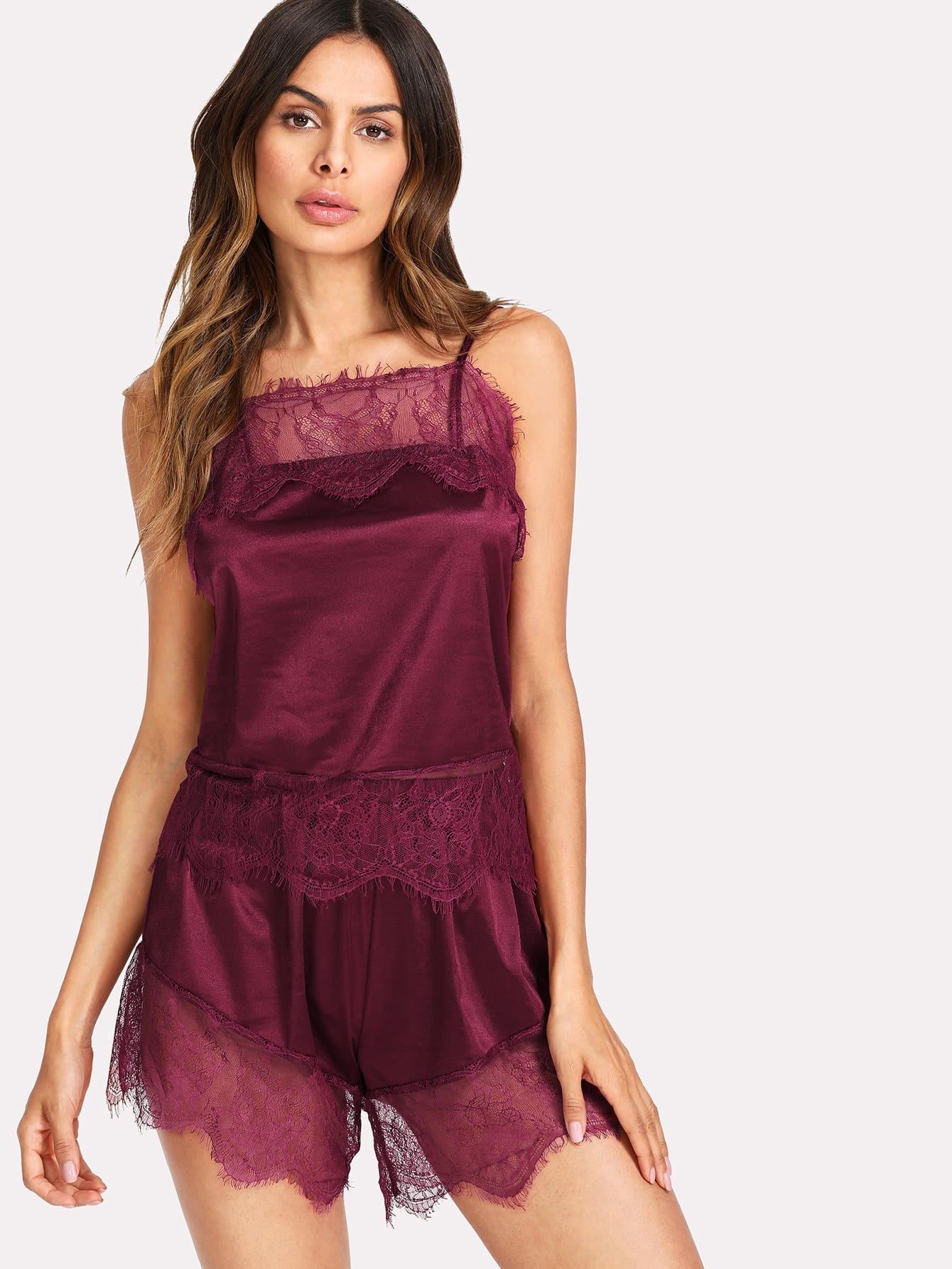 Lace Trim Satin Cami  & Shorts PJ Set lace trim satin cami and shorts pajama set